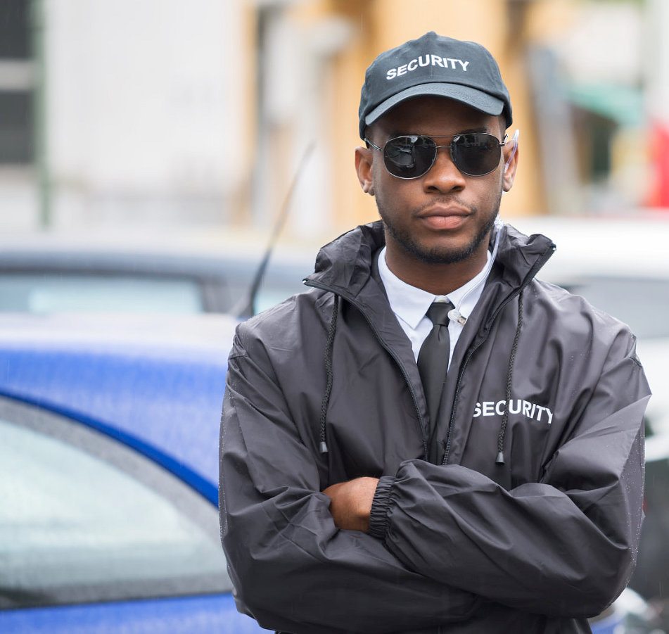 security wearing a hat